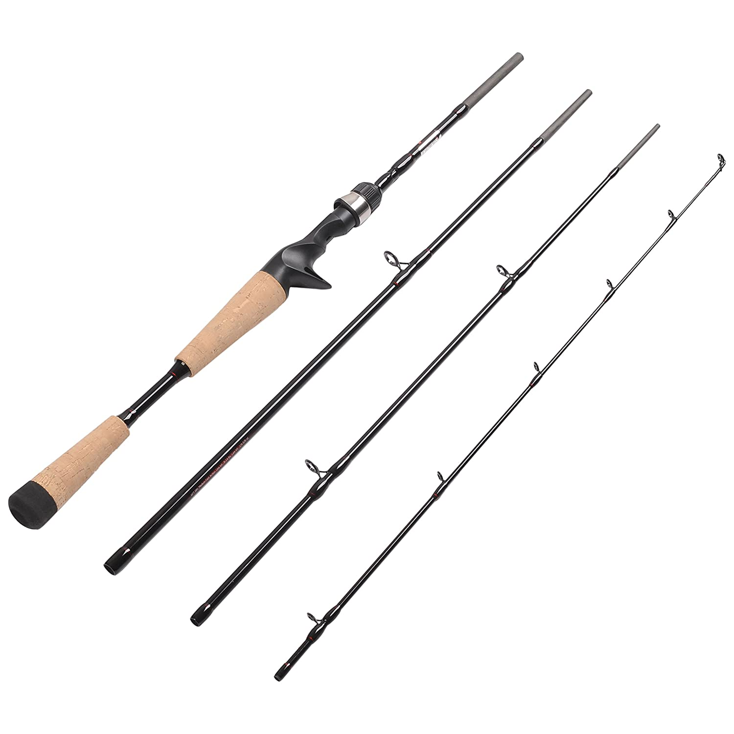 fiblink 4 pieces travel casting rod graphite baitcasting