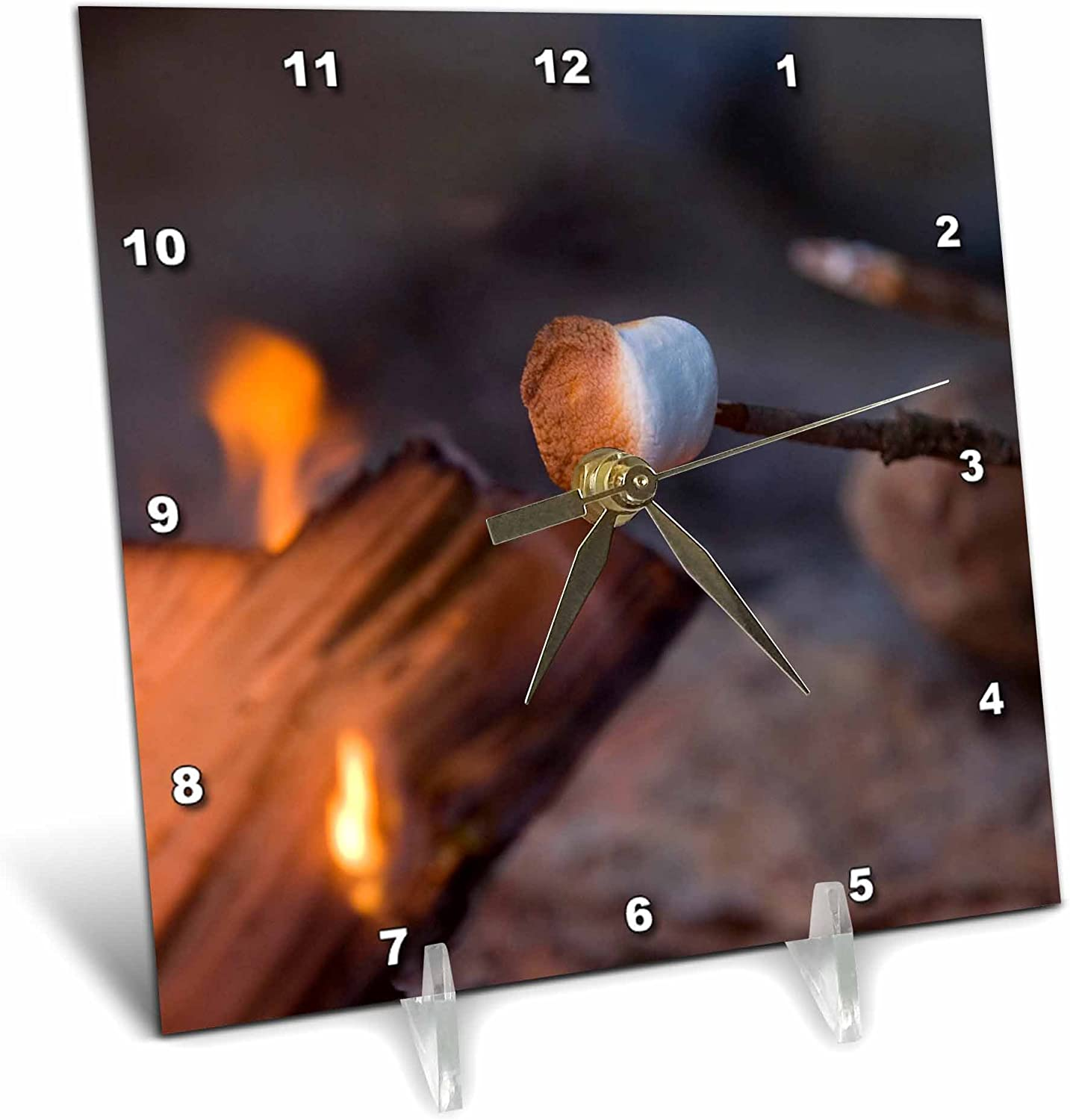 3dRose dc/_91805/_1 Marshmallow Roasting in Campfire Whitefish Montana-Us27 Cha1596-Chuck Haney-Desk Clock 6 by 6-Inch