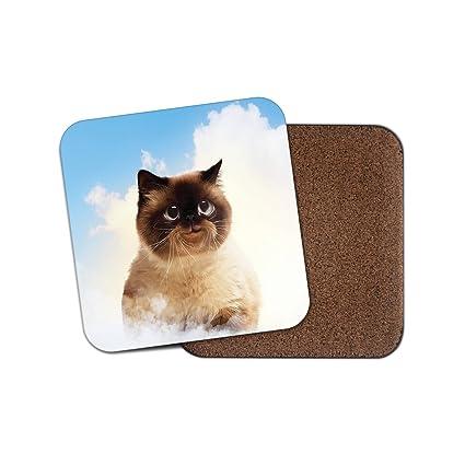 Posavasos de vinilo con diseño de gato sonriente, con base de corcho, para bebidas