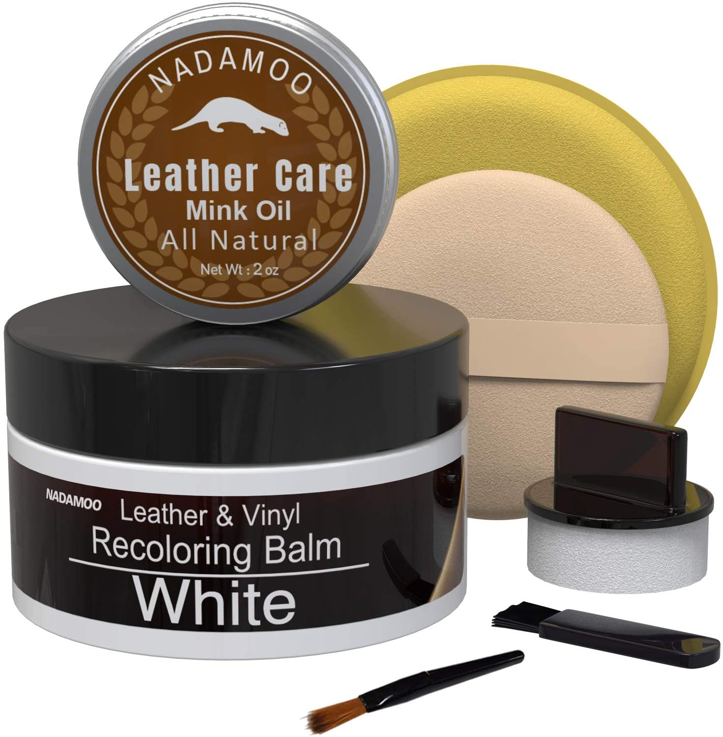 NADAMOO White Leather Recoloring Balm with Mink Oil Leather Conditioner, Leather Repair Kits for Couches, Restoration Cream Scratch Repair Leather Dye For Vinyl Furniture Car Seat, Sofa, Shoes