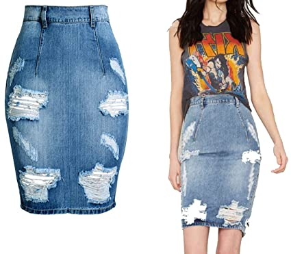 327d8b5e33 Plus Size Mini Denim Skirt Split Jeans Pencil Skirt Tight Skinny High Waist  Zipper Hole Denim
