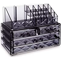 AUSELECT Cosmetic Makeup & Jewelry Organiser Clear Acrylic 20 Section Transparent Black Dressing Table Holder Stackable…