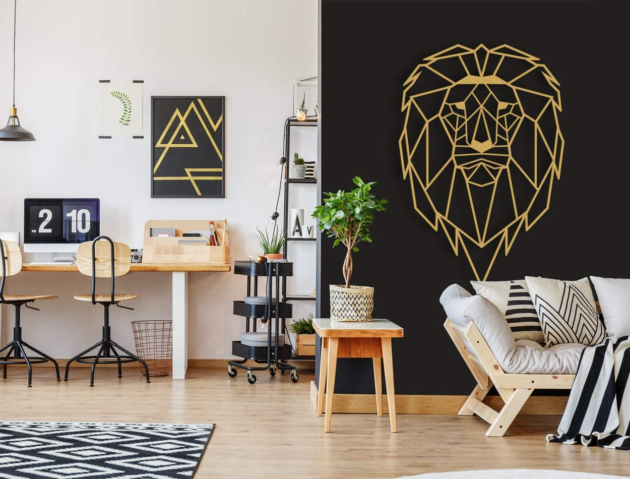 FEBROS/Metal Wall Art Lion/Geometric Metal Wall Art/Home Decor Wall/Modern Metal Art/Wall Signs/Bedroom, Living Room Wall Decoration. (Small)