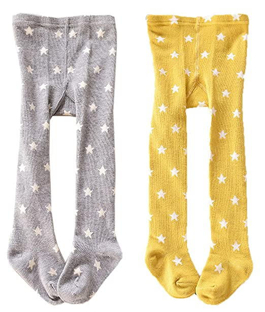 24f6d68b1aef9 CHUNG Baby Toddler Girls Cotton Footed Tights 0-4Y 2 Pack Star Print, 24