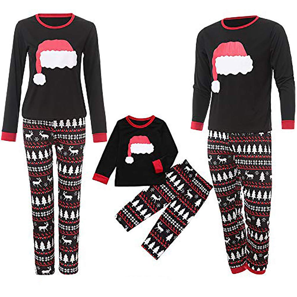 Lurryly❤Family Matching Pjs for Christmas Children Hat Tops+Pants Clothes Kids Pajamas Set