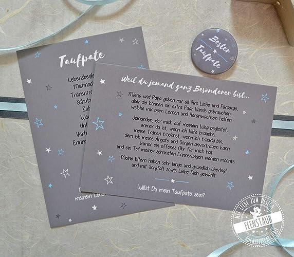 Taufpate Fragen Geschenk Taufe Dankeschon Patenonkel 2 Karten Mit