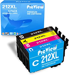 PicView Remanufactured 212 (Upgraded Chip) Ink Cartridge Replacement for Epson 212XL T212XL T212 XL use for Expression Home XP-4100 XP-4105 Workforce WF-2830 WF-2850 Printer, 4 Packs (BK/C/Y/M)