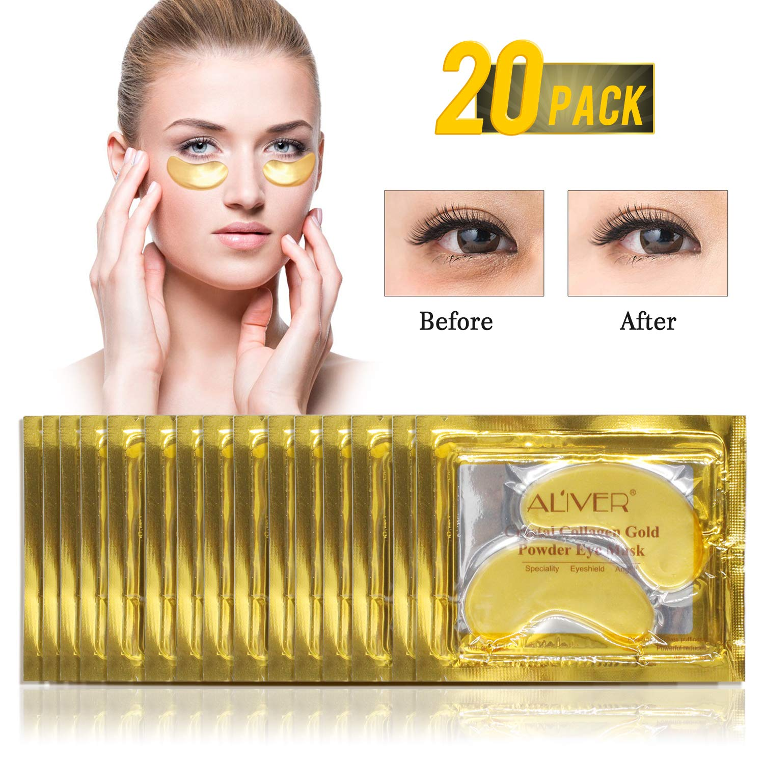 (25 Pairs) ALIVER Crystal 24K Gold Powder Gel Collagen Eye Mask,Premium Anti Aging, Anti Wrinkle, Moisturiser for Under Eye Wrinkles, Remove Bags Under Eyes, Eye Bag Removal, Under-eye, Dark Circles,Hydrating, Puffy Eyes LILY STORE