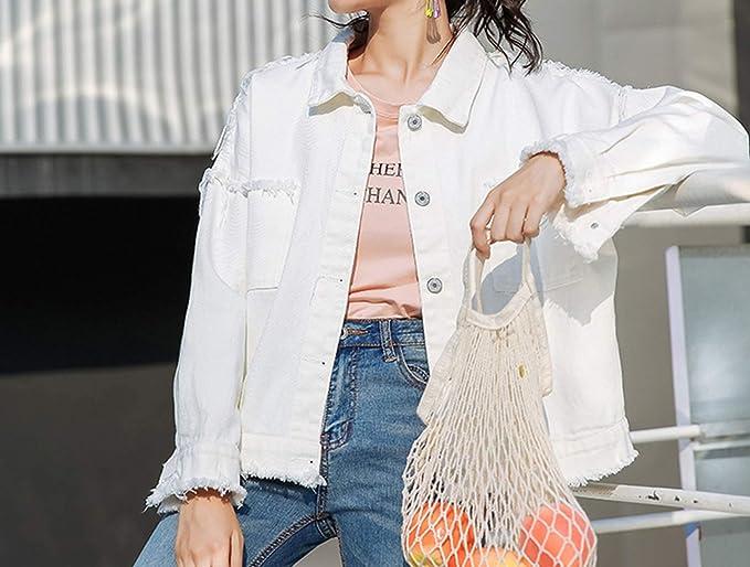 JunXian coats Denim Jacket for Women Solid Color Hipster Pockets Female Jacket Streetwear BF Jean Coat Dropship,Green,L