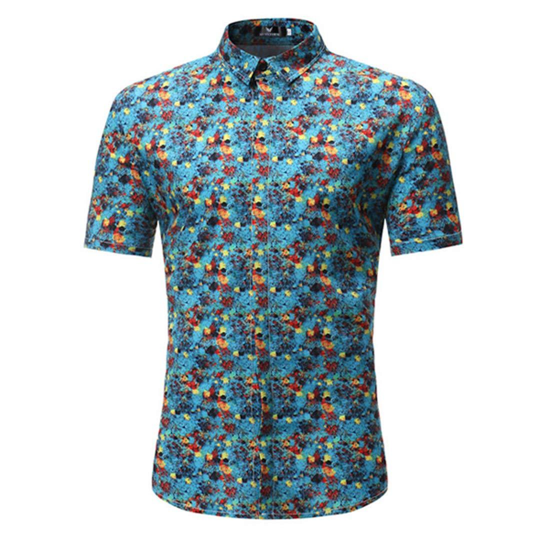 TEMPARFIUQ Hawaiian Men New Summer Slim Fit Short Sleeve Beach Shirt Men Caual Shirts