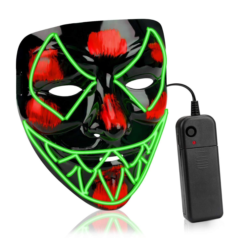 AnseeDirect Mascara Terror Led Halloween Cosplay Led Disfraz M/áscara Terror El Wire Light Up Power Purge Mask para Fiestas Festival Fiesta De Disfraces Navidad