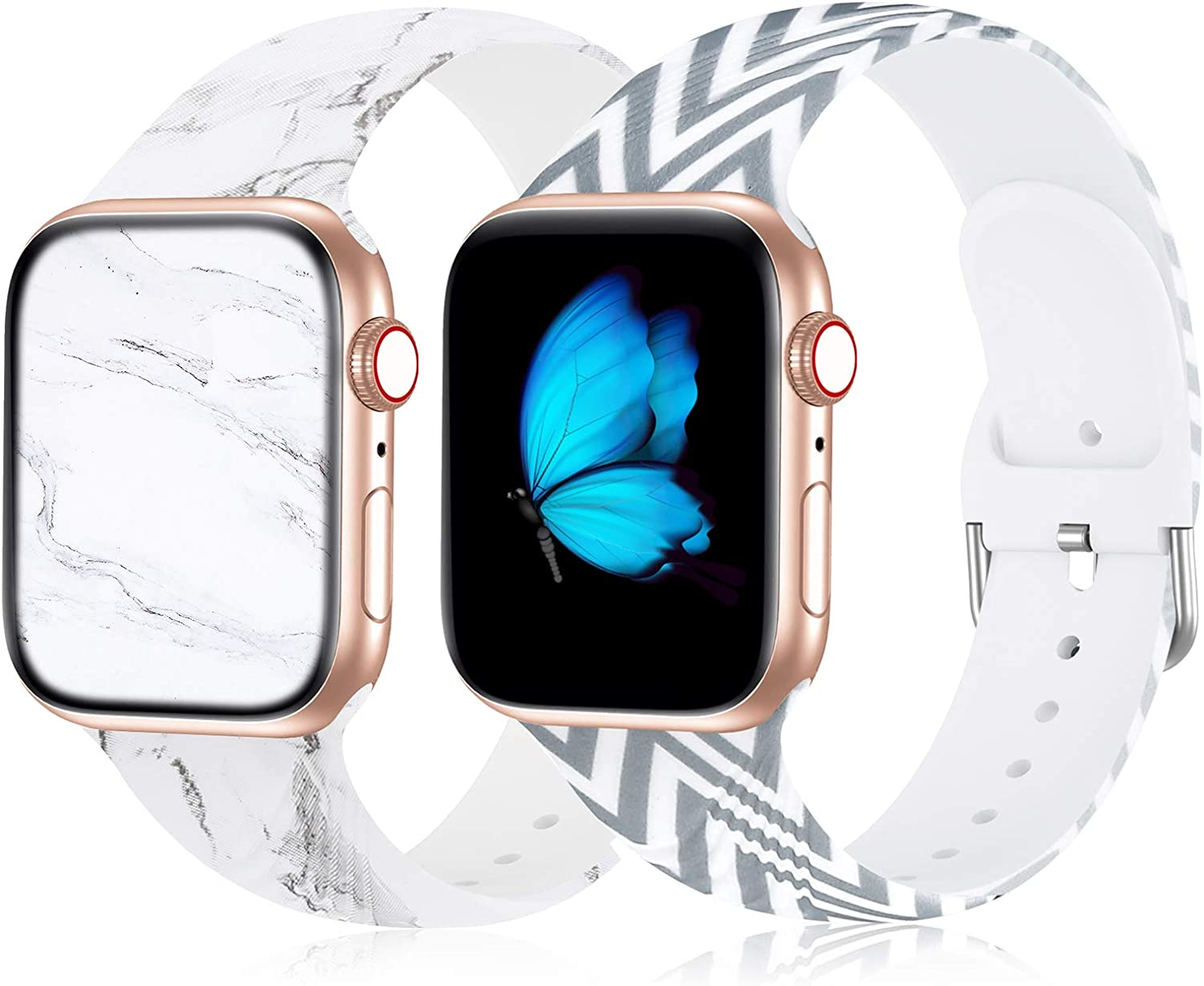 Floral Bands Compatible with Apple Watch Bands 38mm 40mm 42mm 44mm for Women, Soft Comfy Silicone Sports Band Marble Pattern Replacement Wristbands Strap for iWatch SE Series 6 5 4 3 2 1, 2 Pack