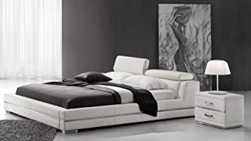 hera white leather platform bed king
