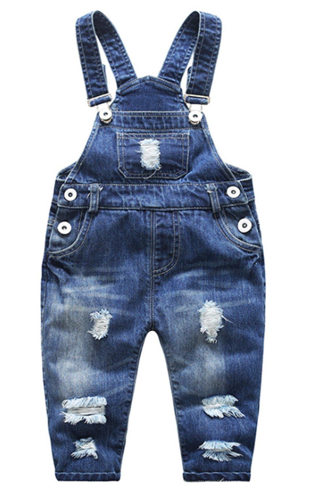 BANGELY Kids Boys Girls Casual Button Denim Overall Bib Jeans Pants (1-2Years, Dark Blue)