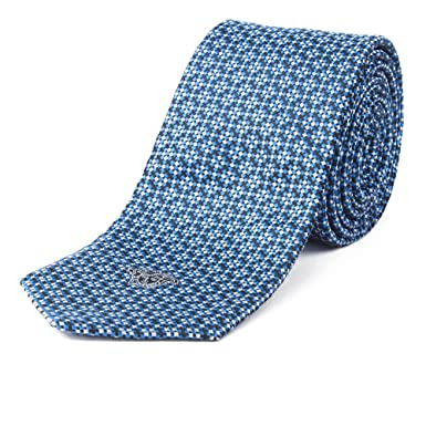 4b349ffbe93e Gianni Versace Men's Textured Italian Silk Tie, OS, Blue at Amazon ...