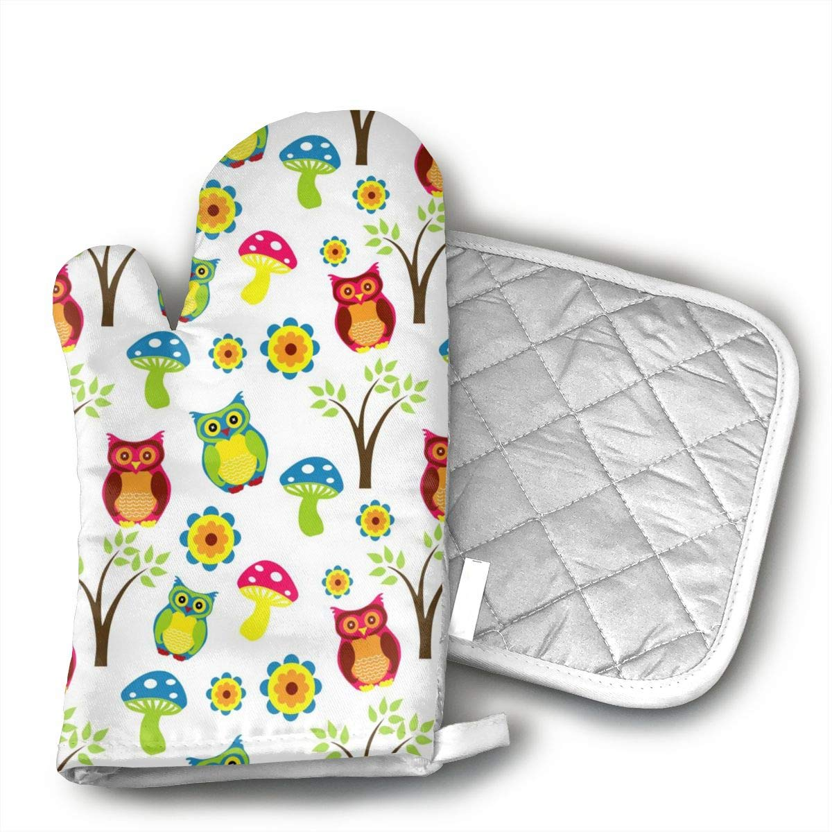 Wiqo9 Cute Owl Oven Mitts and Pot Holders Kitchen Mitten Cooking Gloves,Cooking, Baking, BBQ.