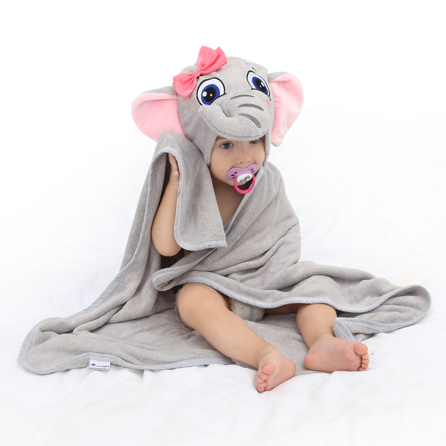 Baby Hooded Towel Upsimples Elephant Baby Towels for Baby Girls 35×35 inches Ultra Large 500GSM Super Soft Organic Bamboo Baby Bath Towel for Infant Toddler | Baby Girl Shower Gift Photo Shoot Props