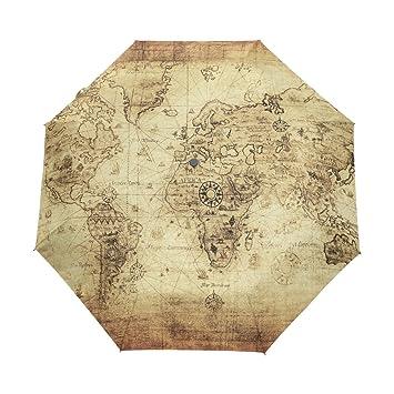 bennigiry antiguo vintage mapa del mundo 3 Folds Auto Abrir Cerrar paraguas compacto de viento portátil