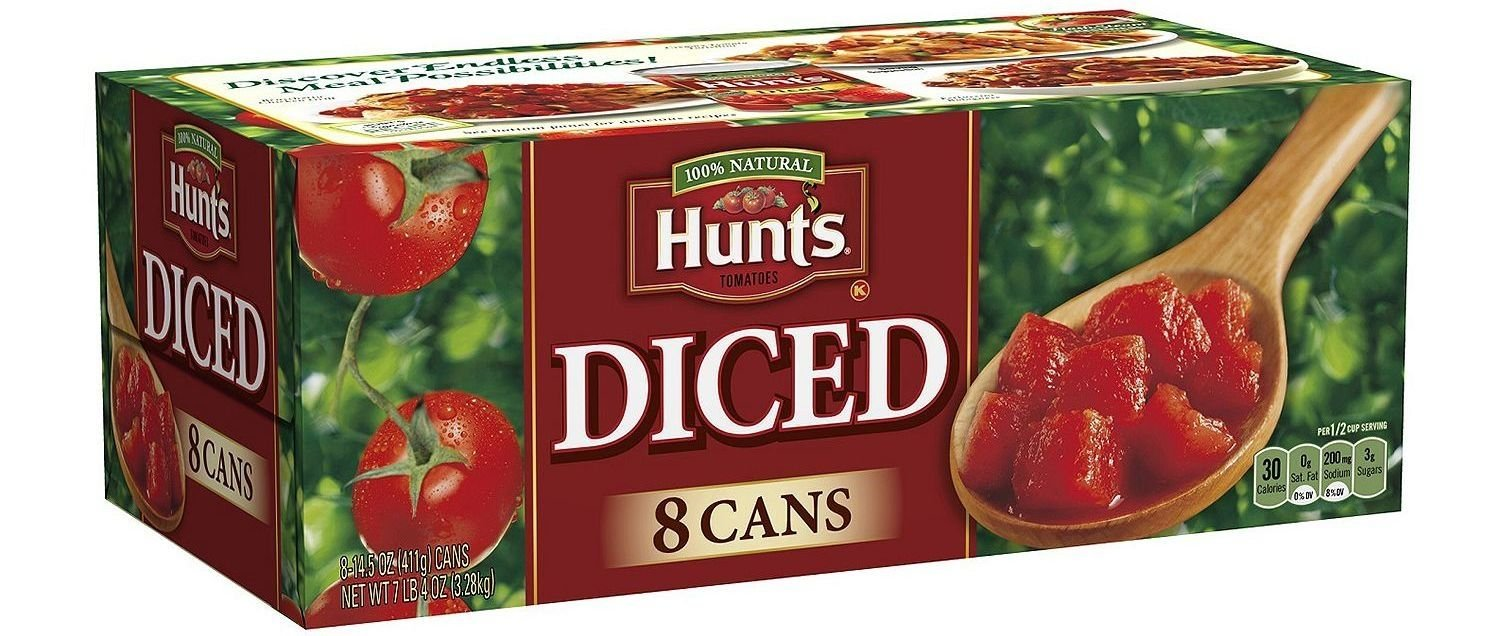 Hunt's 100% Natural Diced Tomatoes 14.5 Oz (Pack of 8)