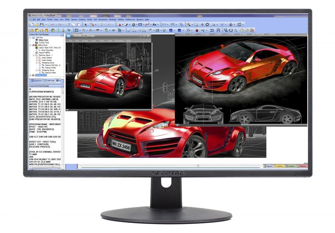 Sceptre E248W-19203R 24'' Ultra Thin 75Hz 1080p LED Monitor 2X HDMI VGA Build-in Speakers, Metallic Black 2018 by Sceptre (Image #1)