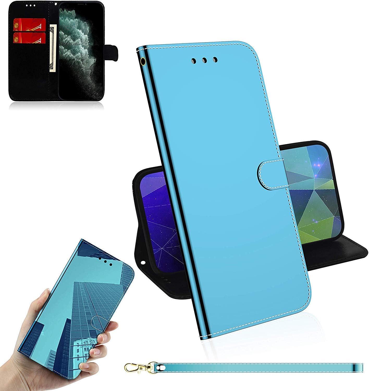 Sunrive Funda para Xiaomi Redmi 3s/ 3s Prime/ 3X/ Redmi 3 Pro, Cuero Artificial Sintético Protectiva Espejo Carcasa Resistente Cierre Magnético,en Folio,Soporte Plegable(Azul) + 1x Lápiz óptico