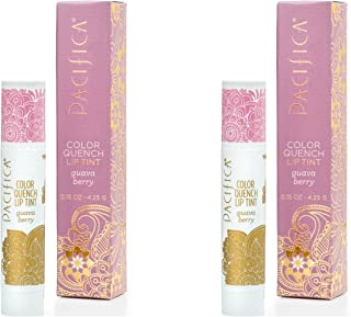 product image for Pacifica Guava Berry Color Quench Lip Tint (Pack of 2) with Coconut Oil, Soy Wax, Candelilla Wax, Cocoa Seed Butter, Avocado Oil and Rosemary Leaf Extract, 100% Vegan and Gluten-Free, 0.15 oz.