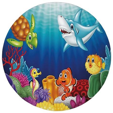 Amazon Com Round Rug Mat Carpet Aquarium Cartoon Tropical