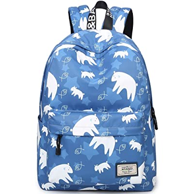 dd8ae158a21 Bookbag for Teens, BLOOMSTAR Water Resistant Cute Bear Print School Backpack  Laptop Bag Travel Rucksack Casual Daypack Handbag (Dark Blue)