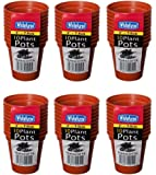 6 x Packs Whitefurze Pack Of 10 Small 7.5cm Seed Plant Pots Terracotta Colour Plastic Pots (6)