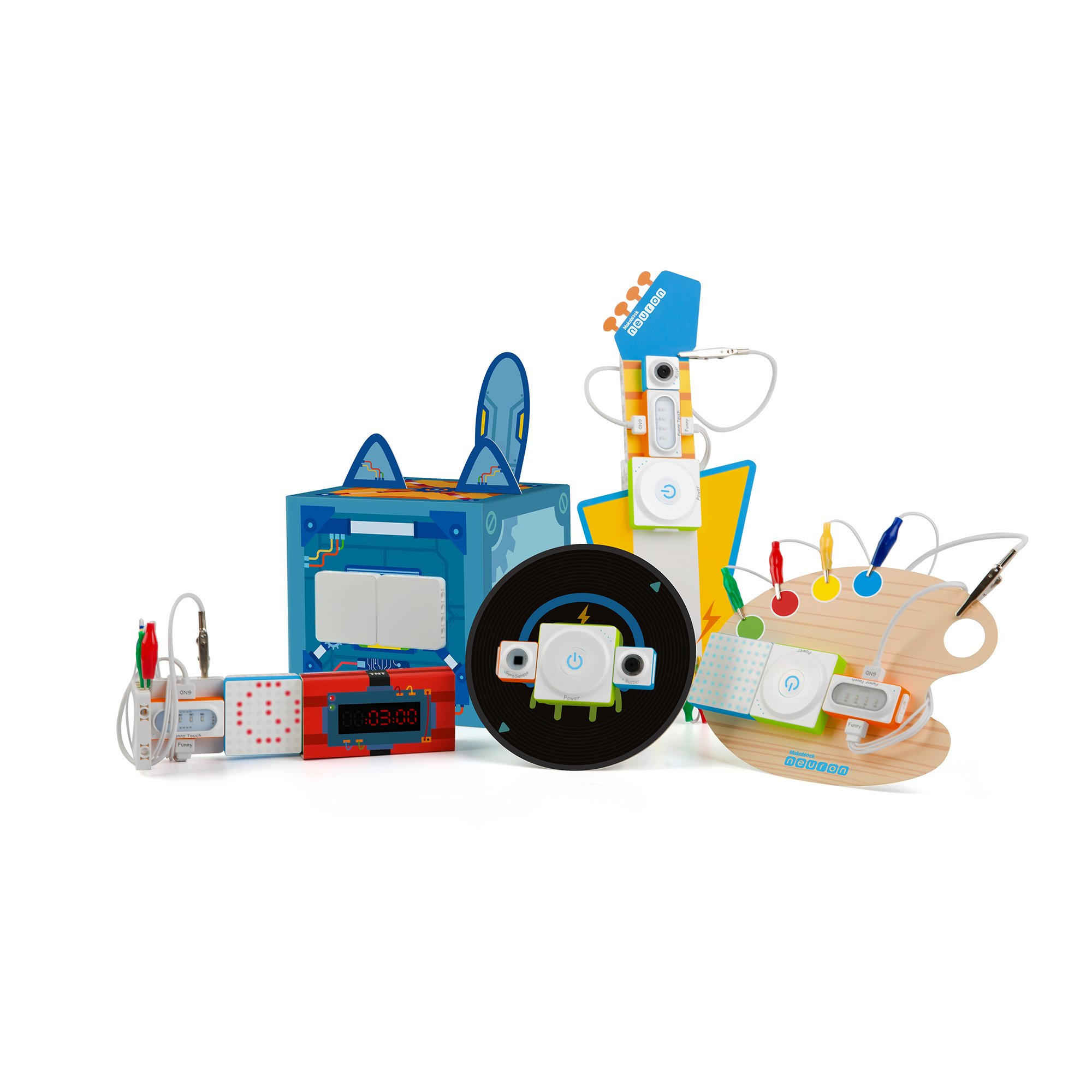 Makeblock Neuron Inventor Kit, STEAM Education, Graphical Programming, Magnetic Pogo Pins for 6 Year & up Kids+ with 6 Basic Blocks, Over 10 Kinds of Funny Robots, Like Rabbit,Dashing Raptor