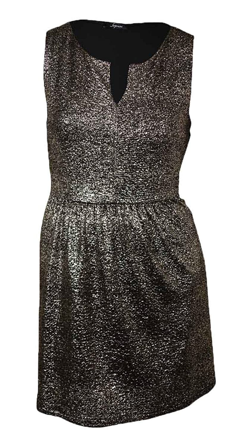 Soprano Women's Split V-Neck Foil-Flecked A-Line Dress