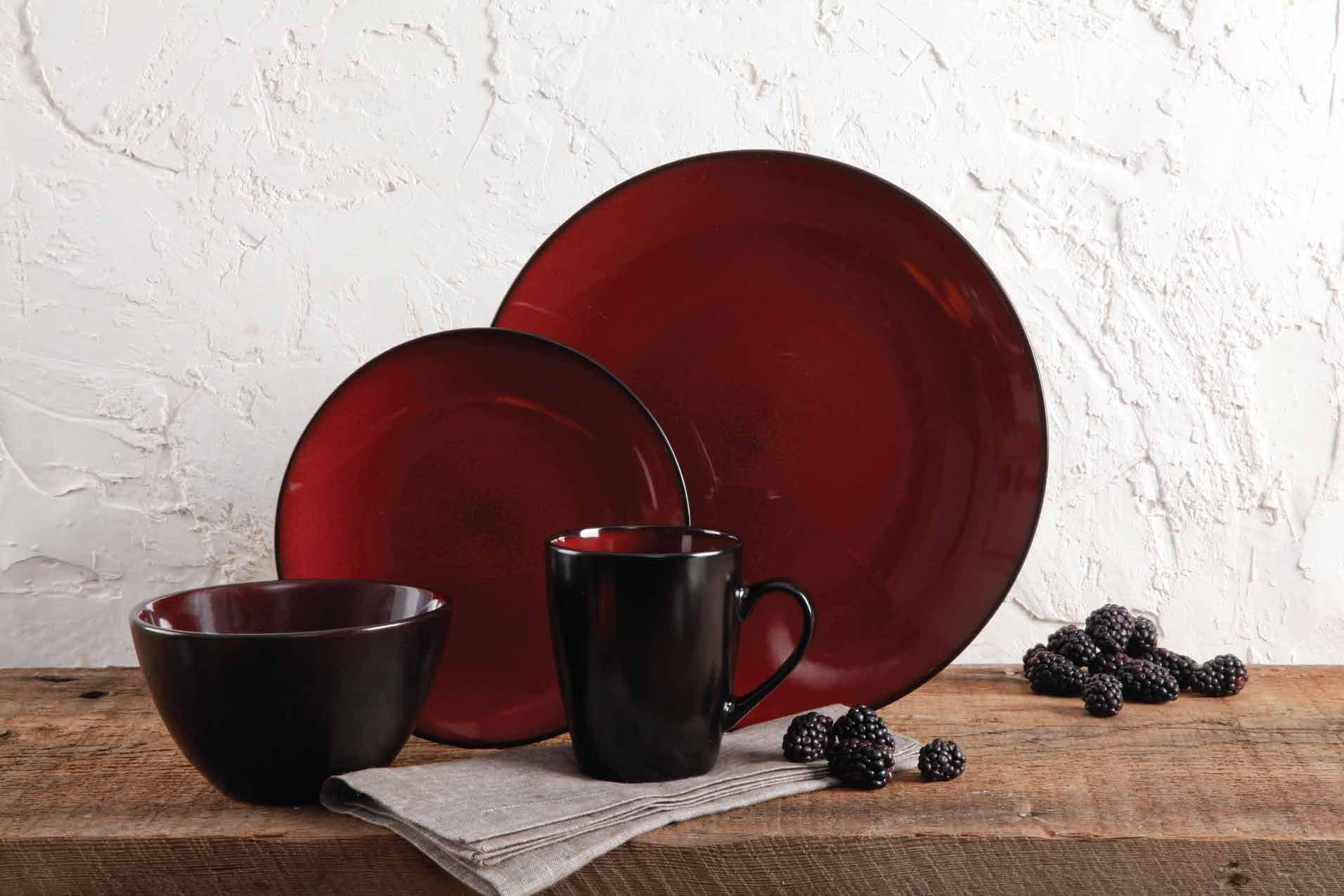 Gibson Home 109537.16R Soho Round 16 Piece Reactive Stoneware Dinnerware Set, Red