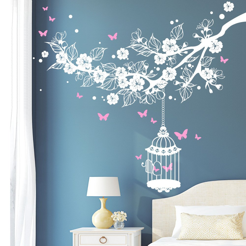 Wandtattoo Kirschblütenast Vogelkäfig Schmetterlinge (2farbig)   weiß weiß weiß   80 x 92 cm B00WGCMAQM Wandtattoos & Wandbilder 2c1a83