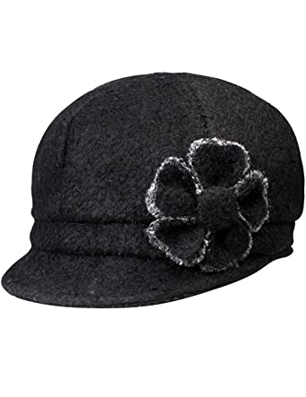 36922fcf Dahlia Women's Chic Flower Newsboy Cap Hat Wool Blend - Dual Layer, Black