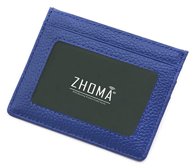 73bb56d74dc2 Zhoma RFID Blocking Minimalist Front Pocket Wallet Leather Credit Card  Holder with ID Window