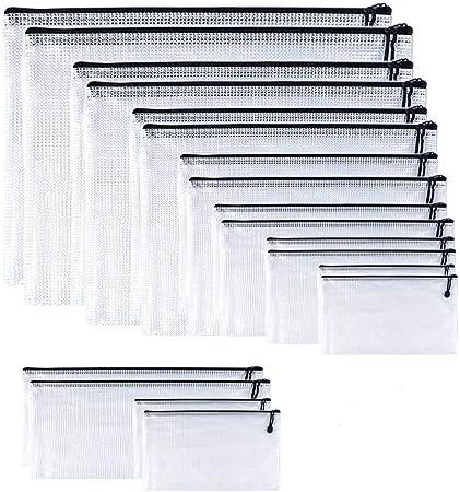 Oaimyy-(9 Sizes,18 Pack) -Mesh Plastic Zipper Pouch Zip File Holders Folders Bags Weatherproof for Office Supplies, Cosmetics, Travel Storage, Bills, Organizing Storage-Black