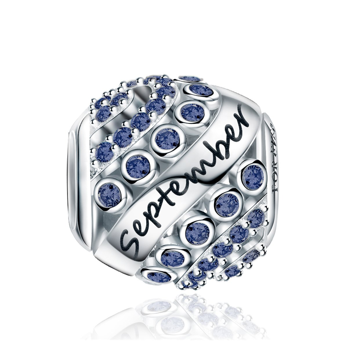 Forever Queen September Birthstone Charms for Pandora Charms Bracelet- 925 Sterling Silver Bead Openwork Charms, Happy Birthday Charms for Bracelet and Necklace FQ0004-9