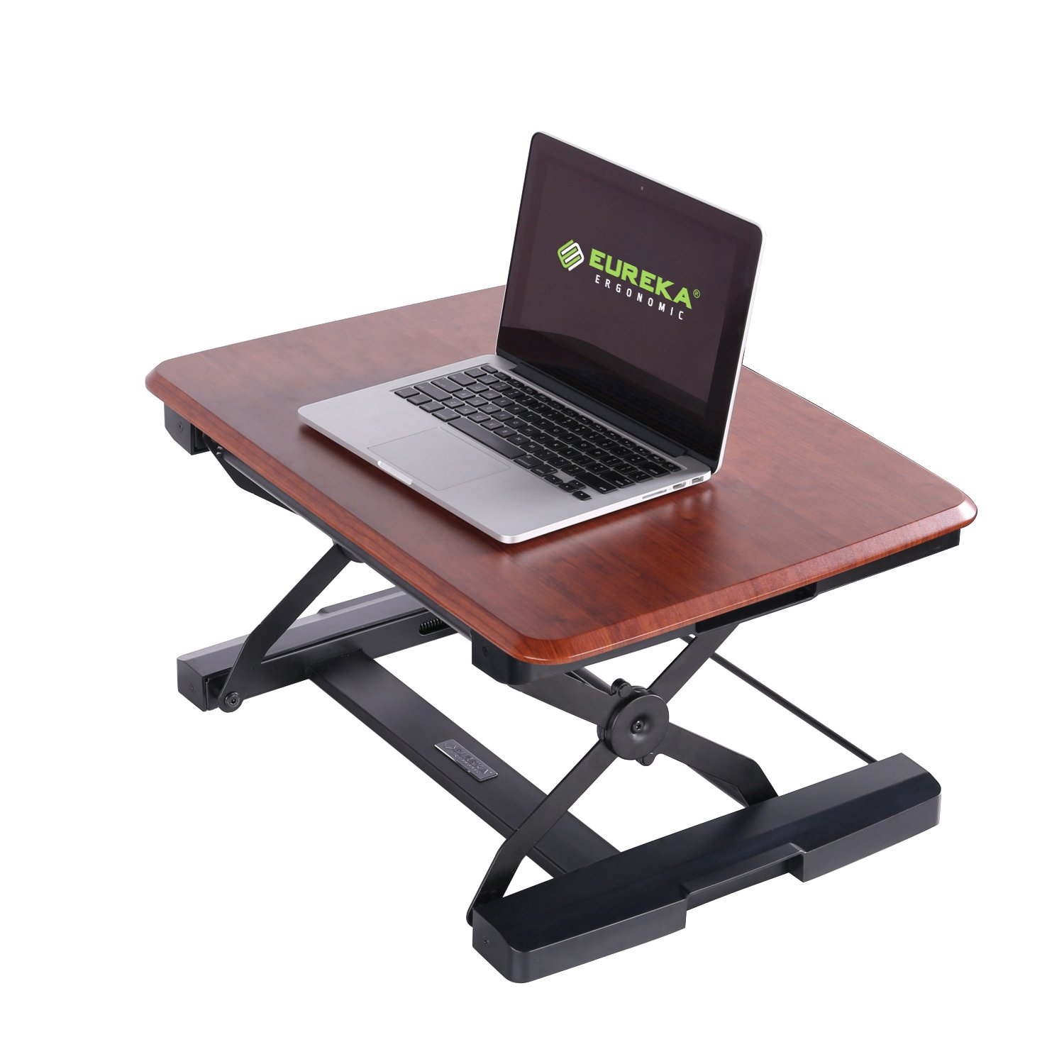 Space Saving Standing Desk Converter, Computer Desk Riser for Laptop and Monitor, Adjustable Height Desk for Office/ Home/ Meeting, 26'' Cherry by Eureka Ergonomic