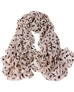 Samgu Foulard Echarpe Imprimé Chat 160   55CM Chiffon Soie pour Femme  Couleur Kaki et Rose 1696ec42449