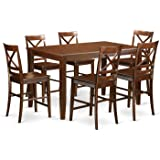 East West Furniture DUQU7H-MAH-W 7 Piece High Top Table and 6 Kitchen Bar Stool Set