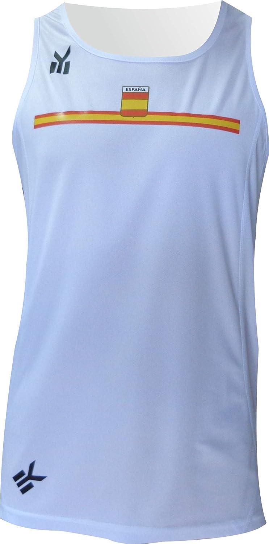 EKEKO SPORT Camiseta ESPAÑA Tirantes, para Running Color Blanco: Amazon.es: Deportes y aire libre