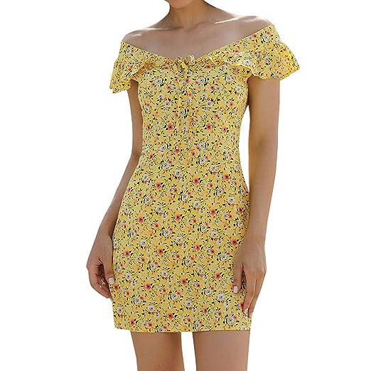 Mini Vestido con Hombros Descubiertos y Estampado Floral de Verano ...