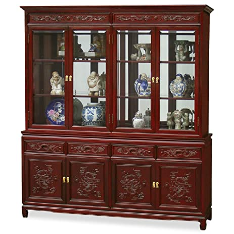 Exceptionnel Hand Crafted 72in Imperial Dragon Design Rosewood China Cabinet   Dark  Cherry