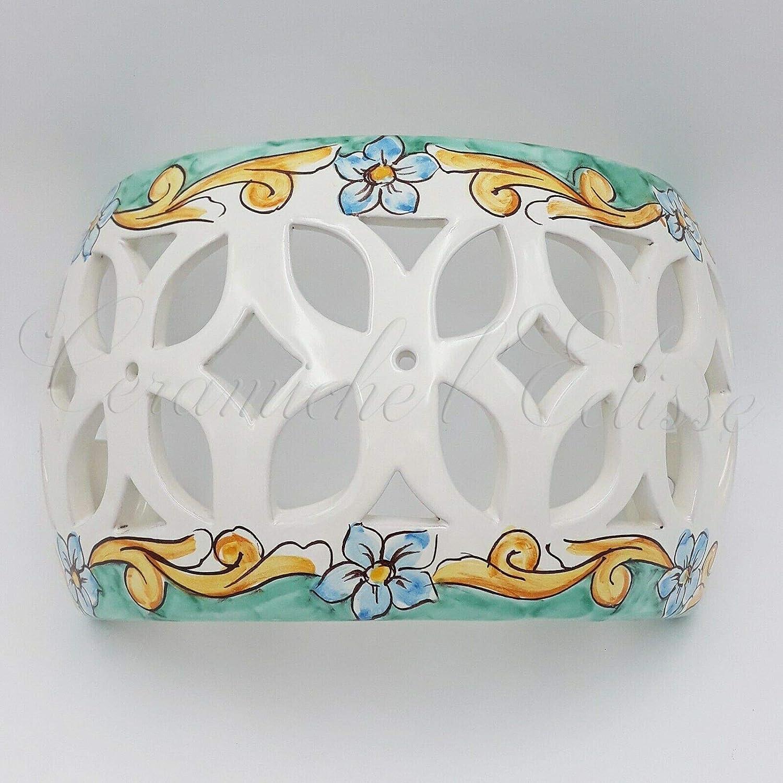 Lampade In Ceramica Di Vietri.Applique Da Parete Interno Esterno Ceramica Di Vietri Artigianale Verde Floreale Amazon It Illuminazione