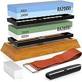 Razorri Knife Sharpening Stone Kit, Double-Sided 400/1000 and 3000/8000 Grit Whetstones, Flattening Stone, Leather Strop, and