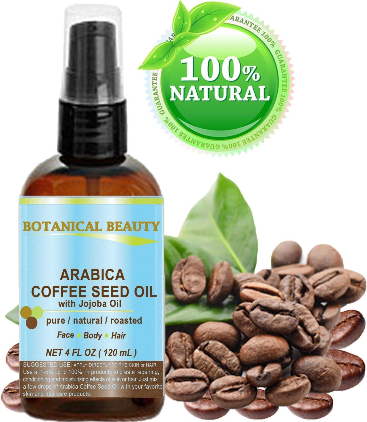 Arabica de café kernöl, 100% Natural. Para Cara, cuerpo y pelo–120ml. Reducción de arrugas, antirreflejos, Hinchazón/Círculos oscuros, anti-cellulite.