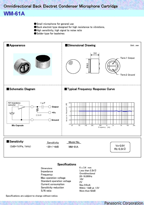 2pcs wm-61 a Back omnidireccional micrófono de condensador electret cápsula de láser.: Amazon.es: Iluminación