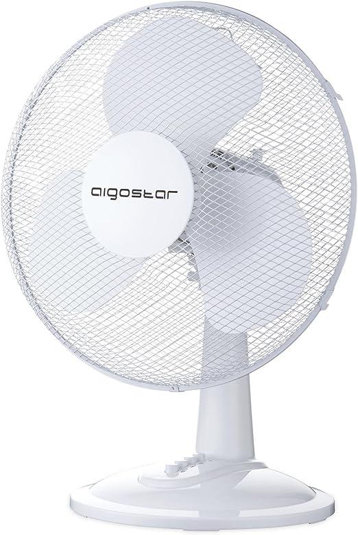 Aigostar Louis 33JTN di/ámetro 30,5 cm ligero 2,2 kg color blanco Dise/ño exclusivo. Ventilador de mesa de 3 velocidades Altura 50 cm oscilaci/ón de 80 grados