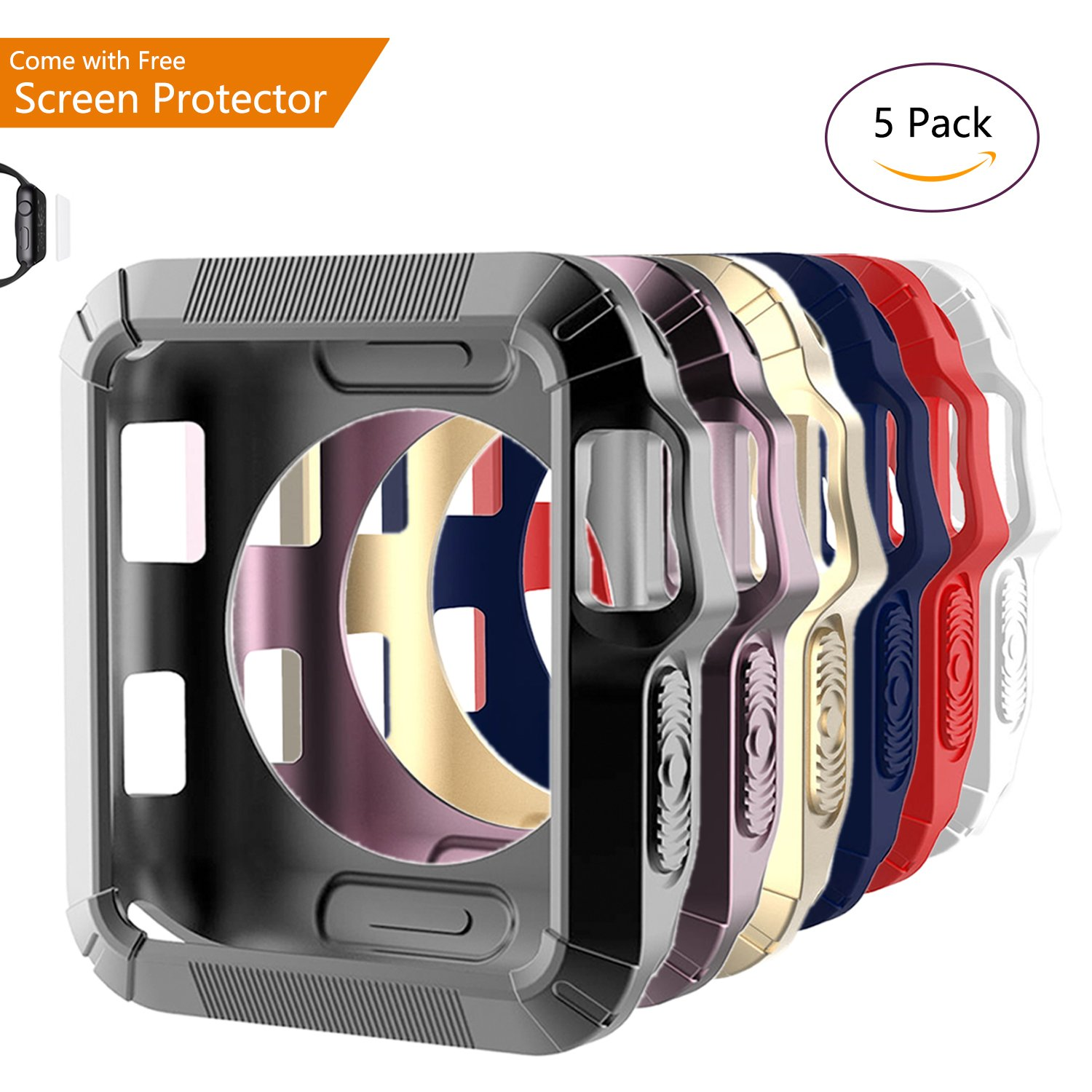 6-Pack [Comes with FREE Screen Protector] Kinature 38mm Apple Watch Bumper Case (Revel Bumper) Fashion Case - Compatible with Apple Watch Series 1, Series 2, Series 3 and Nike+ (38mm)
