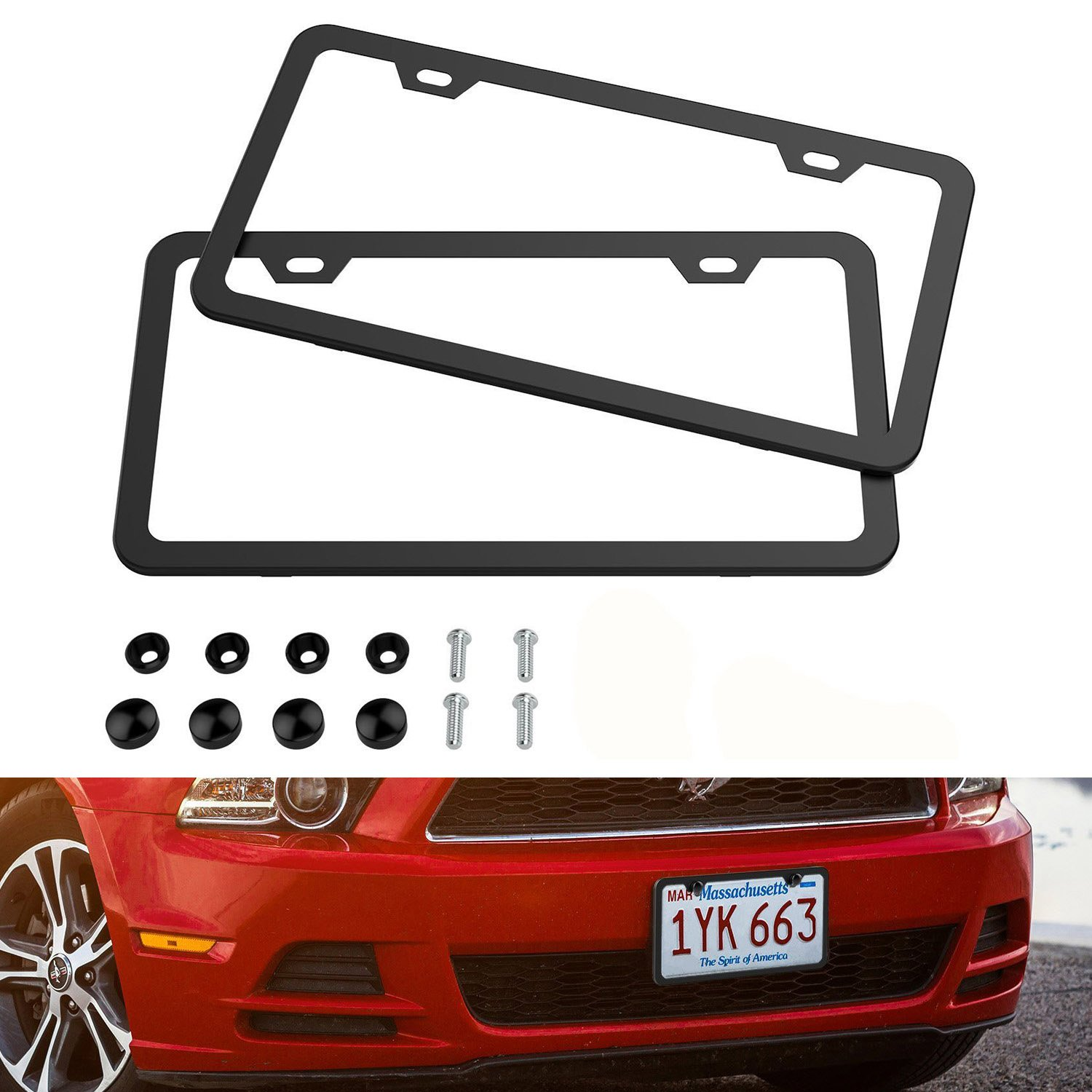 License Plate Frames AUTOPDR 2Pcs Stainless Steel Car Licence Plate Covers FastenersAluminum Alloy Slim Design with Screws Caps for Universal US Standard (Front or Rear) (Black)
